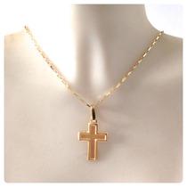 Cordão Corrente 60cm Crucifixo Ping Cruz Masculino 18k