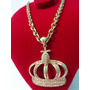 Corrente 70cm Cartier Grossa E Coroa Banhada Ouro Frete Grát