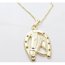 Colar Feminino Pingente Cavalo Folheado A Ouro