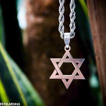 Corrente Aço + Pingente Estrela De Davi Salomão Hexagrama
