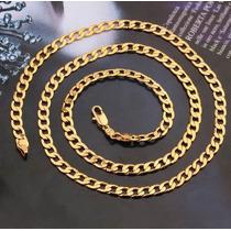 Corrente Masculina 4mm Banhada A Ouro 18k 55cm + Brinde