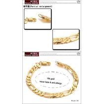 Pulseira 18k Ouro Verdadeiro Chapeado Corrente Figaro 10.mm