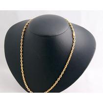 Cordão Oco Modelo Cadeado De Ouro 18 K 750