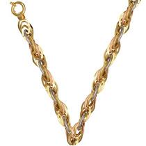 Gargantilha De Ouro 18k Feminina 45cm Aplatie 3 Cores 36 Gr
