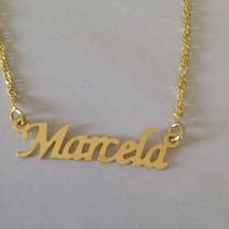 Colar Nome Marcela Folheado A Ouro 18