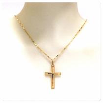 Cordão Corrente 70cm Pingente Crucifixo Joia Ouro 18k Certif
