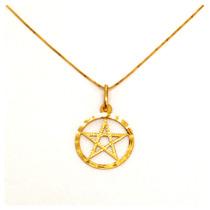 Corrente E Pingente Pentagrama Ouro18k Com Certificado Lindo