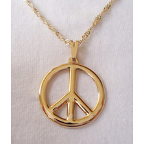 Pingente + Corrente Símbolo Da Paz Folheada A Ouro 18k