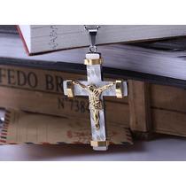 Crucifixo Em Aço Inox Jesus Dourado Lindo Com Corrente J1938