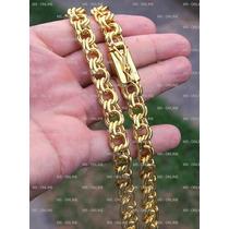 Big Corrente Cordão 12mm Banhado A Ouro 18k Fecho De Gaveta