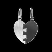 Par Corrente Cordão Cara Metade Coração Quebra-cabeça Prata