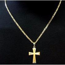 Lindo Cordao Corrente Masculino Banhada 70cm Cruz Ouro18k