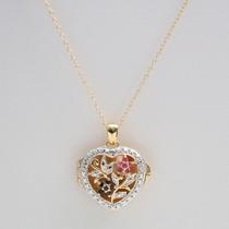 Colar Coração Precioso + Pedras Preciosas + Ouro Amarelo 14k