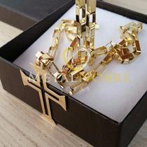Cordão Cartier Longata + Pingente Cruz 30gramas Ouro18k 60cm