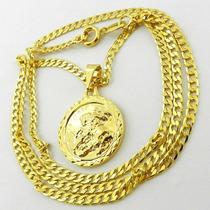 Corrente Masculina 70cm 3mm São Jorge Folheada Ouro Cr634