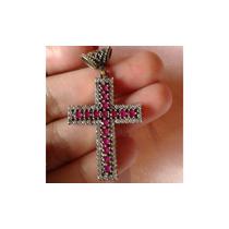 Pingente Crucifixo Prata Turca 925 3,5 Cm Pedra Rosa