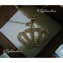Colar Corrente Pingente De Coroa De Rainha Banho De Ouro 18k