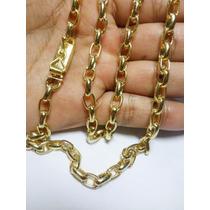 Cordão Corrente Cartier 60cm Banhada Ouro 18k Fecho Gaveta