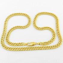 Corrente Masculina 70cm 6mm Largura Folheado Ouro Cr498