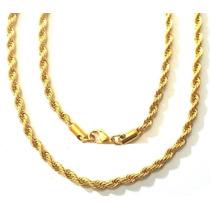 Corrente Cordão Masculino Aço Inox Cirúrgico Dourado / Prata