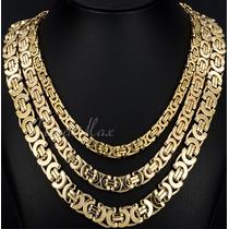 Cordão Bizantino Banho Ouro 12mm 18k 60cm, Certificado