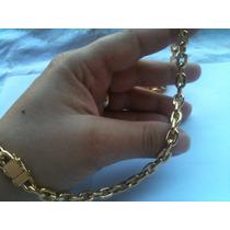 Cordão De Prata Banhado A Ouro 24kl 3 Banhos 65cm 60 Gramas.