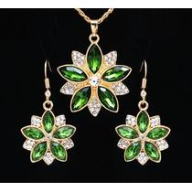 Colar Com Brincos Pétulas Verde Princesa Cristal Swarovski