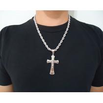 Corrente Cordão Baiano Traçado Pingente Jesus Crucificado