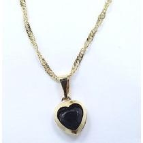 Gargantilha E Pingente Folheado A Ouro 18k Coração Em Pedra