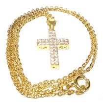Crucifixo Em Linda Corrente Banhado A Ouro Amarelo