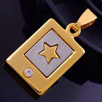 Colar Cordão Pingente Estrela Solitária Topázio Banhado Ouro