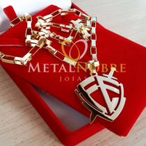 Cordão Cartier + Pingente Escudo Da Fé 30gramas Ouro18k 60cm