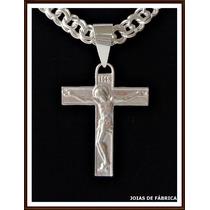 Pingente Para Corrente Cordão Crucifixo Em Prata 950