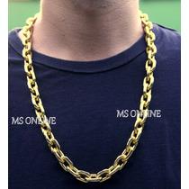 Corrente Cordão Gigante 14mm 70cm Banhado A Ouro 18k