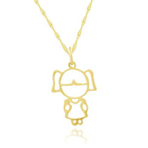 Corrente De Ouro 18k 45cm+ Pingente Ouro 18k Menina/ Filha