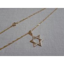 Correntinha Com Pingente Estrela De Davi - Folheada A Ouro