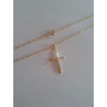 Correntinha Com Pingente Crucifixo- Folheada Ouro