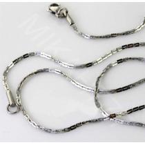 Cordão Masculino Elos Retangulares Aço Inox 3mm 65cm Prata