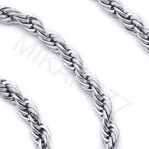 Corrente Cordão Trabalhado Masculino Aço Inox Cor: Prata 7mm