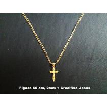 Corrente Figaro 2 Banhos Ouro 18k, 60cm 2mm, Crucifixo Jesus