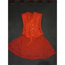 Conjunto Vermelho Corset + Saia De Renda Tamanho P