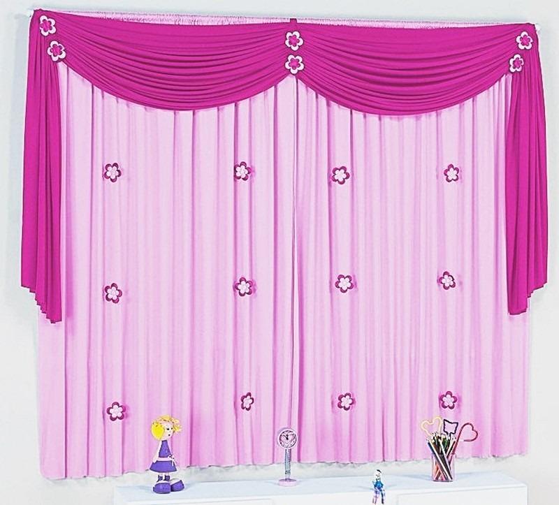 Cortina Infantil Quarto Menina Bebê Lilás Roxo Ou Rosa Pink  R$ 125,00 no Me