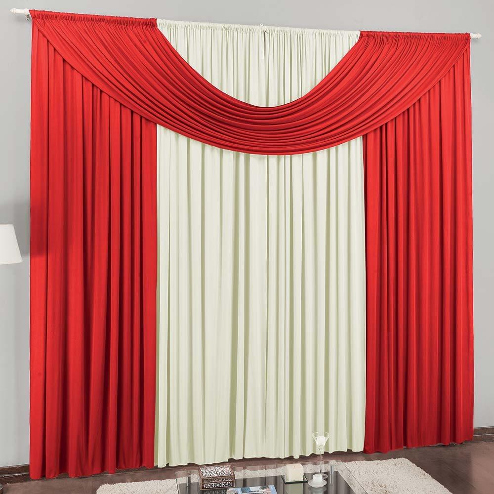 decoracao de sala vermelha e brancacortina para sala cristal vermelho
