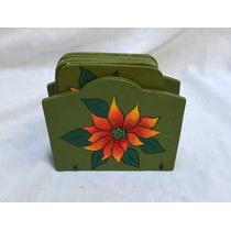 Porta Copos De Madeira Verde Com Pintura Flores - Jogo 7pçs