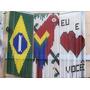 Cortina Artesanal Decorada Bandeira Nacional Brasil Campeão