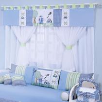Cortina Luca Para Quarto De Bebê Menino Branco - Azul