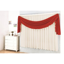 Cortina Grace Branco Vermelho 3,0m X 2,80m - Varão Simples