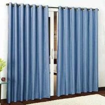 Cortina Rústica Azul De Quarto E Sala 2,00x1,80 Premium