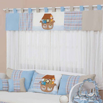 Cortina Para Quarto De Bebê Menino Arca Bady Azul 7pç