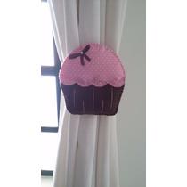Prendedor Enfeite De Cortina Em Feltro Cupcake (o Par)